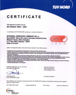 BS OHSAS 18001:2007 - ISCO - Integral Services Co. for Mechanical Contracting & Instrumentation WLL - Multi Disciplinary Contractor in Kuwait