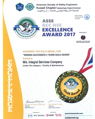 ASSE GCC HSE Excellence Award 2017 Gold Medal - ISCO - Integral Services Co. for Mechanical Contracting & Instrumentation WLL - Multi Disciplinary Contractor in Kuwait
