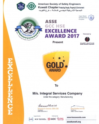 ASSE GCC HSE Excellence Award 2017 Manufacturing - ISCO - Integral Services Co. for Mechanical Contracting & Instrumentation WLL - Multi Disciplinary Contractor in Kuwait
