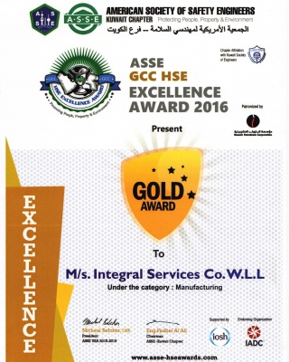 ASSE Gold Awards  - ISCO - Integral Services Co. for Mechanical Contracting & Instrumentation WLL - Multi Disciplinary Contractor in Kuwait
