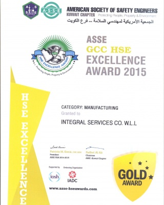 ASSE Award 2015 - ISCO - Integral Services Co. for Mechanical Contracting & Instrumentation WLL - Multi Disciplinary Contractor in Kuwait