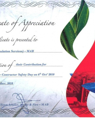 Certificate of appreciation MAB Refinery - 2010 - ISCO - Integral Services Co. for Mechanical Contracting & Instrumentation WLL - Multi Disciplinary Contractor in Kuwait