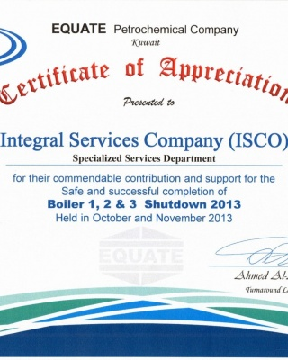 Equate - SSD appreciation 2013 - ISCO - Integral Services Co. for Mechanical Contracting & Instrumentation WLL - Multi Disciplinary Contractor in Kuwait