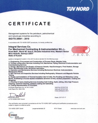 ISO_TS 29001-2010  - ISCO - Integral Services Co. for Mechanical Contracting & Instrumentation WLL - Multi Disciplinary Contractor in Kuwait