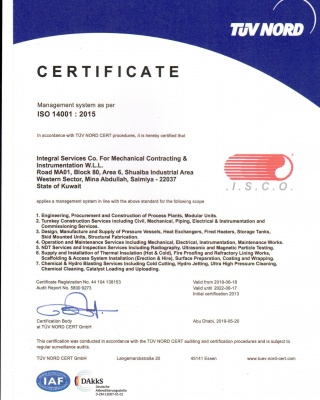 ISO 14001_2015 - ISCO - Integral Services Co. for Mechanical Contracting & Instrumentation WLL - Multi Disciplinary Contractor in Kuwait