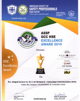 ASSP - GDP HSE Excellence Award 2019 - Engineering - ISCO - Integral Services Co. for Mechanical Contracting & Instrumentation WLL - Multi Disciplinary Contractor in Kuwait