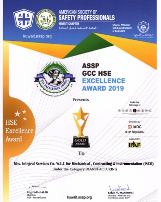 ASSP - GDP HSE Excellence Award 2019  - Manufacturing  - ISCO - Integral Services Co. for Mechanical Contracting & Instrumentation WLL - Multi Disciplinary Contractor in Kuwait
