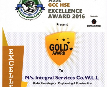 ASSE GCC HSE Excellence Awards 2016 - ISCO - Mechanical Contracting & Instrumentation WLL - Multi Disciplinary Contractor in Kuwait
